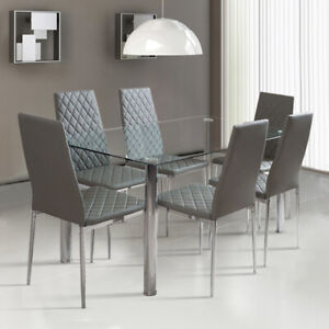 Prime Details About Rectangle Dining Table And 4 6X Padded Leather Chairs Metal Legs Living Room New Download Free Architecture Designs Rallybritishbridgeorg