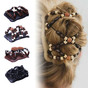 2x Hair Comb Ladies Hair Styling Magic Double Slide Stretchy Clip Hairpins Beads