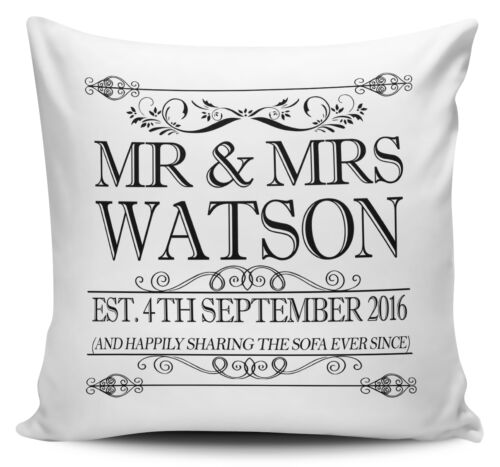 Happily Sharing The Sofa Personalised Anniversary Cushion Cover