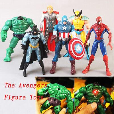 NEW 6pcs The Avengers Hulk+Captain+Wolverine+Batman+Spiderman+Thor Figure Toys