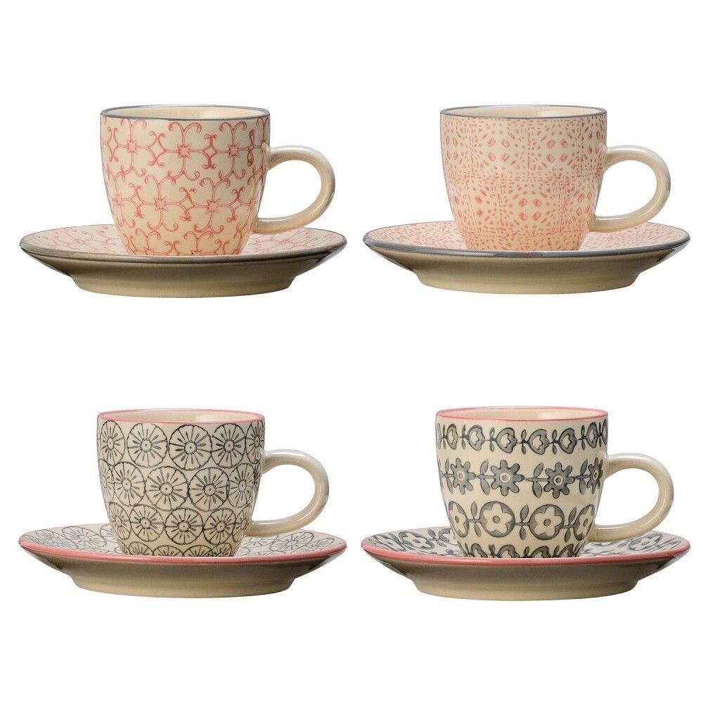 4er SET Espressotassen CECILE Rosa + grau D. 6cm H. 5,3cm Keramik Bloomingville   Attraktiv Und Langlebig