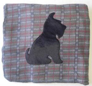 GREY-PLAID-Scottie-SITTING-Fleece-Blanket-Throw-Scottish-Terrier-Scotty-New