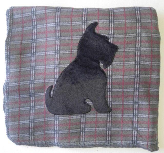 GREY PLAID Scottie SITTING Fleece Blanket Throw Scottish Terrier Scotty New