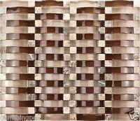 Brown Polished 3D Wave Glass, Dark Emperador & Crema Marfil Marble Mosaic-1 Tile