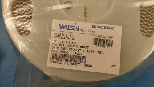 0805X225K160CT Walsin Multilayer Ceramic Capacitor 2.2uF 16V 10/% 0805 3000