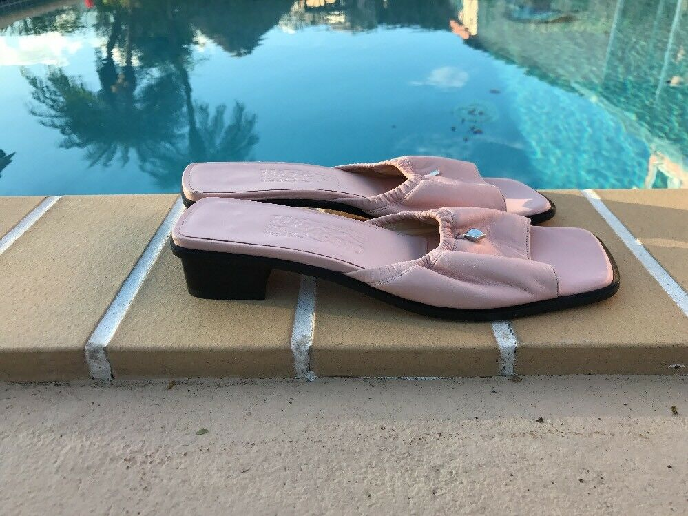 SALVATORE FERRAGAMO LIGHT PINK SOFT LEATHER MULE SANDALS Sz 8.5M MADE IN ITALY