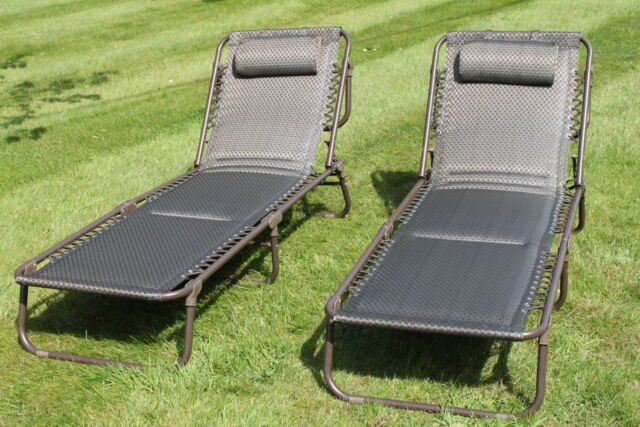 Set Of 2 Luxury Padded Lay Flat Garden Sun Loungers In Brown Tweed