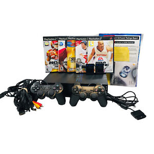 Sony PlayStation 2 Fat Black Console with Controllers Games and PS2 HDD