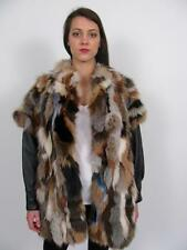 WOW! MULTI COLOURED RED SILVER FOX FUR BLACK LEATHER CHUBBY VEST JACKET COAT~L