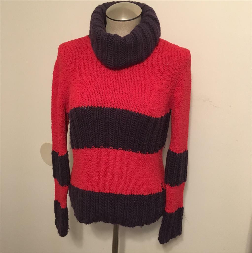 Versace Sport Vintage 1980's - 1990's rot & lila Turtleneck Sweater  M