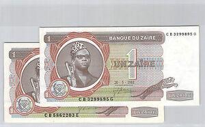 ZAIRE-CONGO-LOT-DE-DEUX-1-ZAIRE-27-10-1980-20-5-1981-PICK-19-b