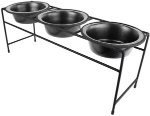 Details About Dog Feeder Triple Bowl Modern Diner Bowls Elevated Stand Midnight Black