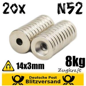20x-Neodym-Magnet-Scheibe-D14x3-mit-Bohrung-8kg-N52-magnetischer-Tuerhalter