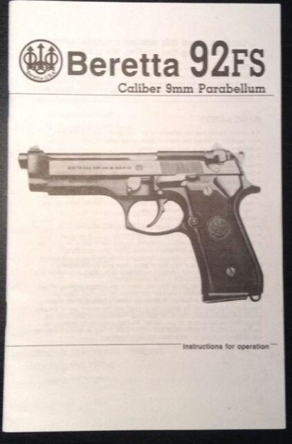 beretta 92fs caliber 9mm parabellum pistol gun instruction and parts rh ebay com Beretta Pistol Owner's Manual beretta 92fs compact owners manual