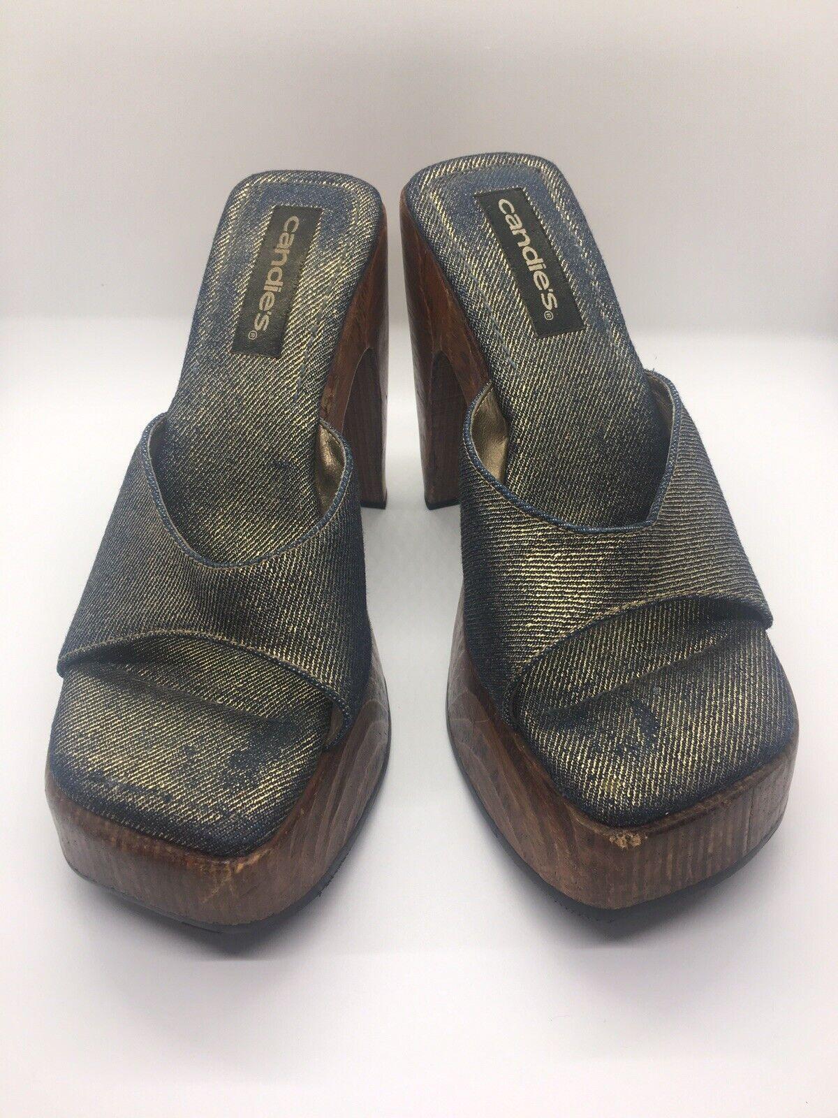 CANDIE'S Vintage 1990's Denim Platform Block Heel… - image 7