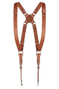 Dual-Two-Camera-Harness-Leather-Light-Brown-Shoulder-Strap-Adjustable-Size-New