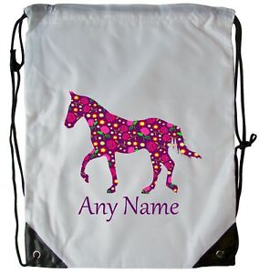 PERSONALISED HORSE CHINTZ DRAWSTRING SCHOOL GYM BAG P.E SWIMMING DANCE BALLET