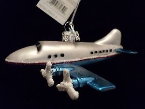 KSA-034-MERCURY-GLASS-AIRPLANE-ORNAMENT-BLUE-034-NEW