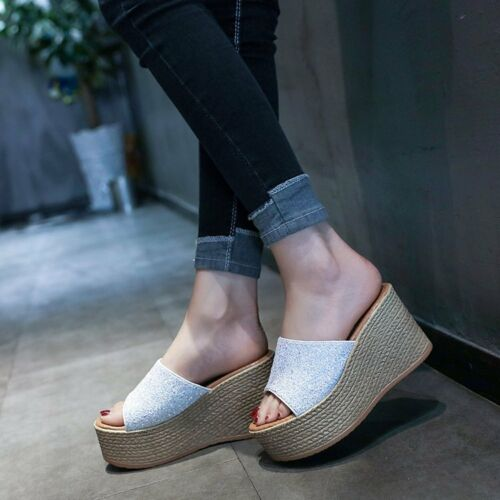 Womens Glitter Platform Slippers Wedge High Heel Open Toe Sandals Shoes Slip On