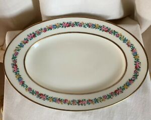 Black-Knight-034-Rosmarie-034-oval-serving-platter-Cream-gold-trims-flowers-14-1-4-034