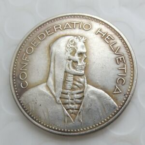 5-Schweizer-Franken-Muenze-1937-Silber-Special-Edition-Totenkopf-Skull-Hobo-Coin