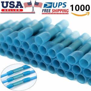 1000Pcs Butt Tube Heat Shrink Waterproof Blue Wire Connectors Crimp Terminal