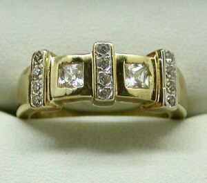 Lovely-Heavy-9-Carat-Gold-And-White-Stone-Band-Ring-Size-P