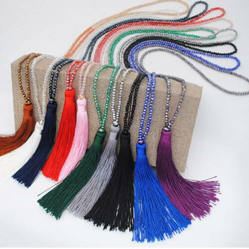 Vintage Boho Pendant Beaded Tassel Necklace Long Sweater Chain Jewelry Crystal