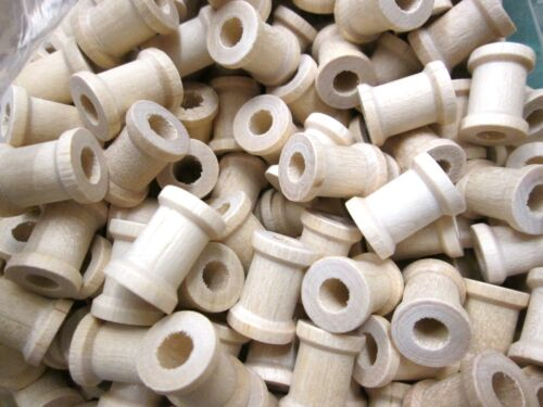 wood spools x 10.  wooden.small  size 12mm x 15mm  6mm hole  country crafts