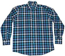 MIKADO CHECKERED DRESS SHIRT SIZE L BLUE WHITE TURQUOISE MADE IN ISRAEL