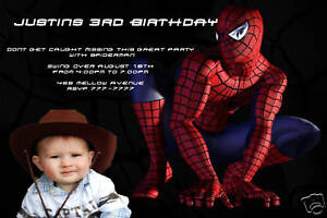 Image Is Loading Personalized Custom Spiderman Photo Birthday Invitation