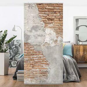 Raumteiler Shabby Backstein Wand 250x120cm Gardine Mit Motiv Design