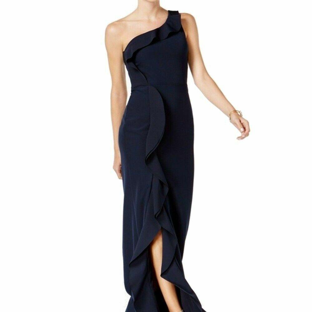 NEW  XSCAPE damen Blau RUFFLED ONE SHOULDER EVENING GOWN DRESS Größe 10