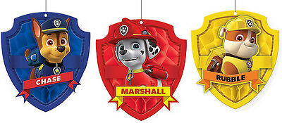 Paw Patrol Party Supplies HONEYCOMB DECORATIONS Pack Of 3 Genuine Licensed