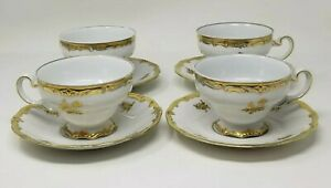 Vintage-Weimar-German-Porcelain-Katharina-17010-Gold-Edged-Tea-Cups-Set-of-4