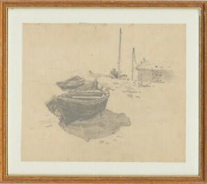 Mitrik - Framed 1962 Graphite Drawing, The Rowing Boats