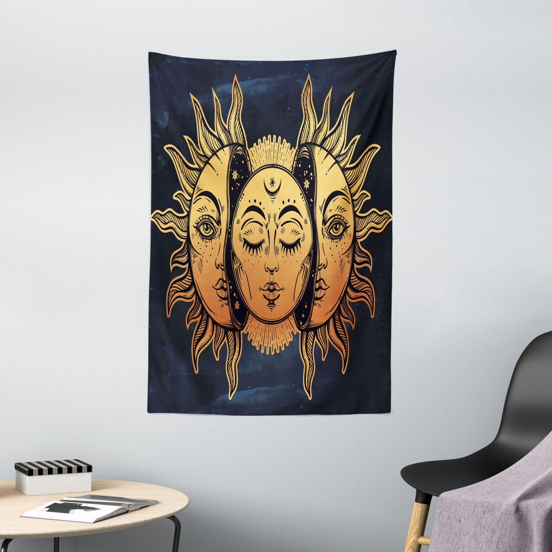Garage Wall Hanging Moon Sun Stars Silky Satin farbenforh Patterned