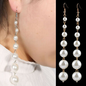 Image Is Loading New One Pair Long Pearl Earrings Swings Women