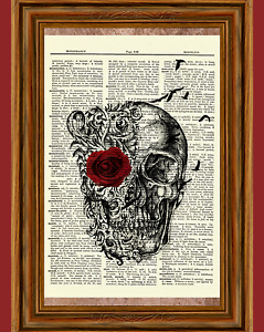 Gothic Skull Dictionary Art Print Picture Poster Red Rose Raven Poe Skeleton