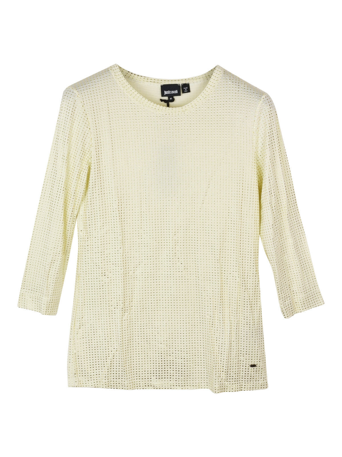 Just Cavalli Gold dotted three quarter length sleeve top