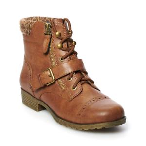 20e18c0dde0 Details about NWT Women's SO® Hackberry Ankle Boots Shoes Choose Size Cognac