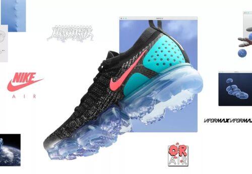 Nike Air Vapormax Flyknit 2 942843-003 Negro/Hot Punch UK 4 EU 37.5 nos 6.5 Nuevo