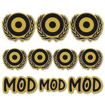 Scooter Large Laminated Black Gold Sticker Set vespa Lambretta Moped MOD Retro