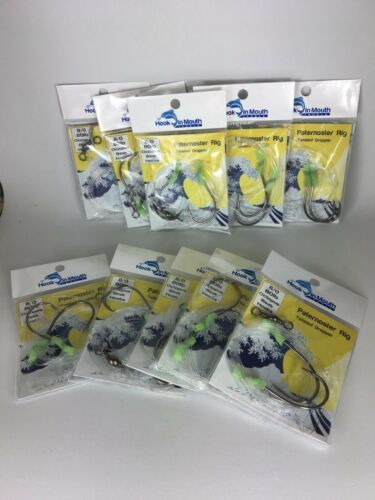 10 x Twisted Paternoster Rigs 80lb 8//0 Octopus Hook Snapper Gummy Shark Jew