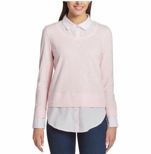 95be0f191c4751 New Women's Tommy Hilfiger 2-Fer Layered Sweater & Blouse Stone Ballerina  Pink
