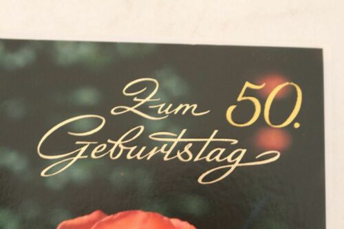 Geburtstag Glückwünsche Rose NOS Glückwunschkarte Grußkarte Geburtstagskarte 50