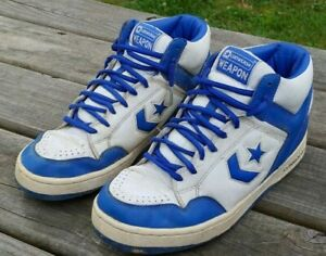 best cheap hot sale good quality Details about Original 1990s CONVERSE WEAPON In Blue & White Mens SIZE 9  Basketball SHOES