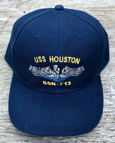 USS Houston SSN-713 Ball Cap Embroidered Submarine Dolphins US Navy Veteran Hat