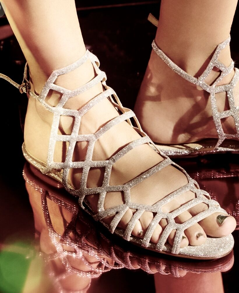 NIB Free People X Schutz Platinum Tan Glitter Strappy Sandals buckle back 8.5