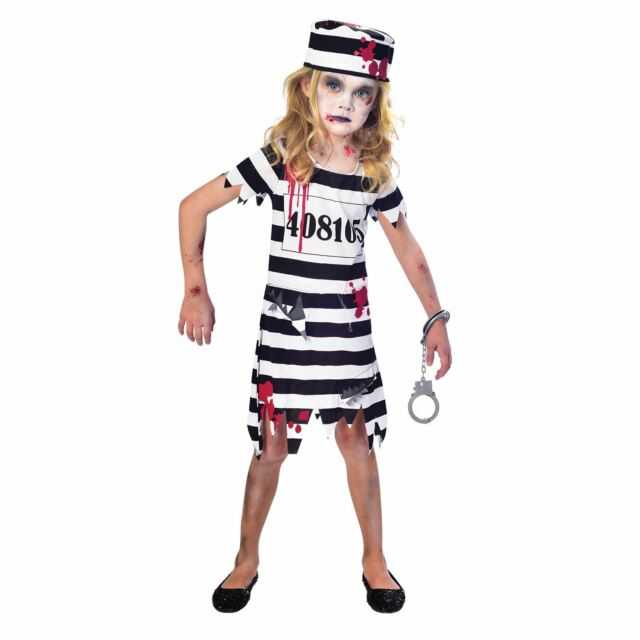 Child Zombie Convict Costume Girls Prisoner Halloween Fancy Dress Outfit  Kids